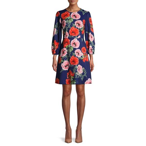エリザジェイ レディース ワンピース トップス Floral-Print A-Line Dress Navy Multi