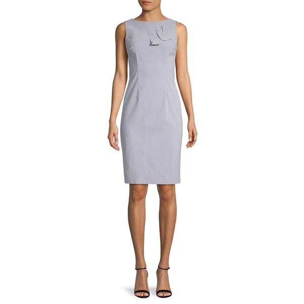 カルバンクライン レディース ワンピース トップス Striped Sleeveless Stretch Pencil Dress Blue White