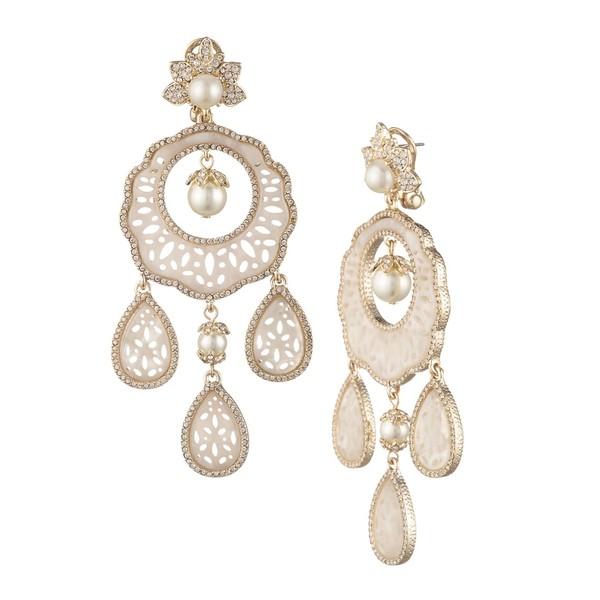 マルケッサ レディース ピアス&イヤリング アクセサリー Goldtone, Faux Pearl & Crystal Chandelier Earrings Gold