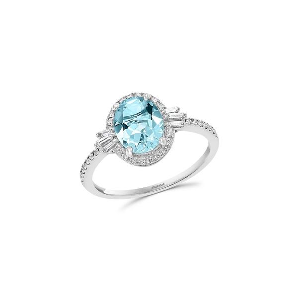 エフィー レディース リング アクセサリー 14K White Gold, Aquamarine & 0.26 TCW Diamond Ring White Gold