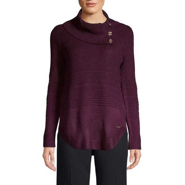 カルバンクライン レディース ニット&セーター アウター Cowlneck Ribbed Sweater Aubergine