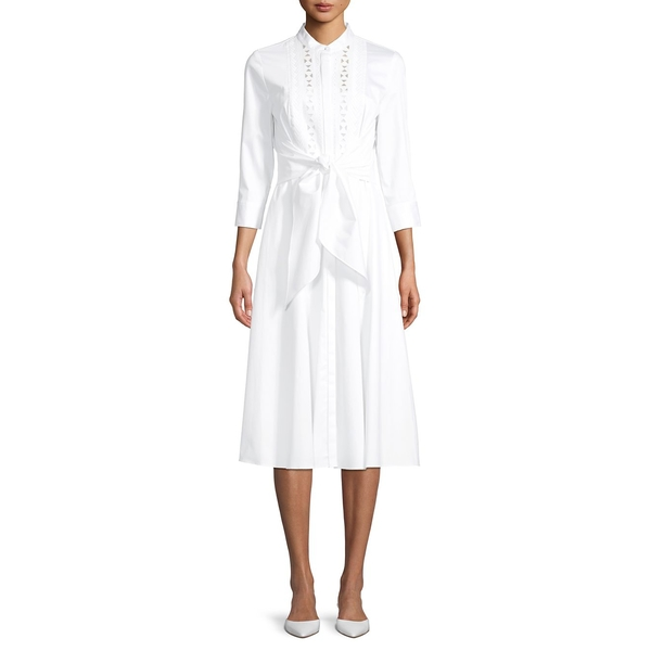 エリータハリ レディース ワンピース トップス Belted Stretch-Cotton A-Line Dress White