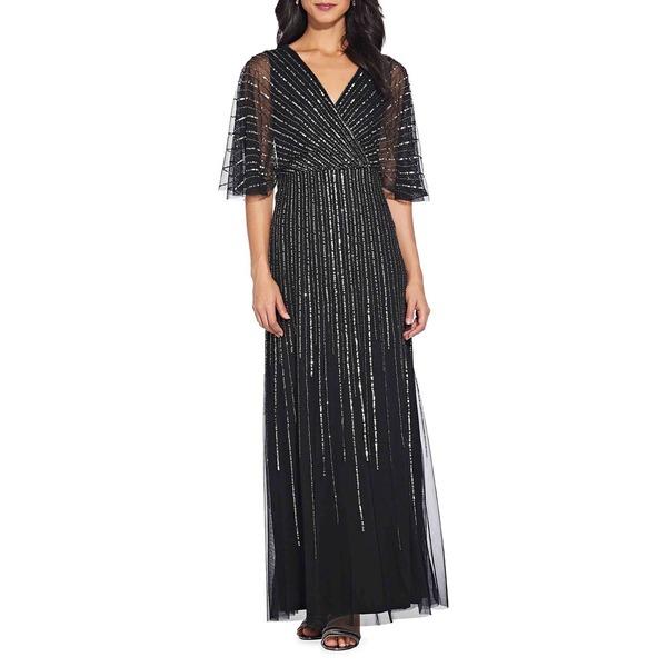 アドリアナ パペル レディース ワンピース トップス Beaded Flutter Sleeve Gown Black