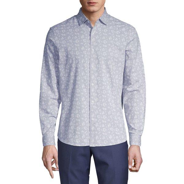 ブラック・ブラウン1826 メンズ シャツ トップス Floral-Print Long-Sleeve Shirt Tradewinds Grey