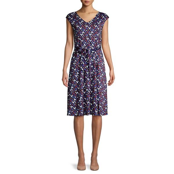 マックマーラ レディース ワンピース トップス Geometric-Print Stretch-Cotton Dress Ocean