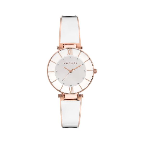 アンクライン レディース 腕時計 アクセサリー Rose Goldtone & Swarovski Crystal Bangle Watch White