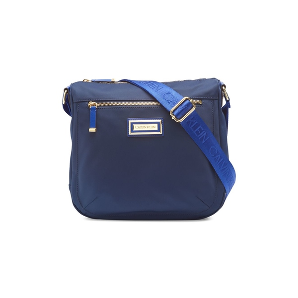カルバンクライン レディース ショルダーバッグ バッグ Key Item Monogram Nylon Crossbody Bag Navy Blue