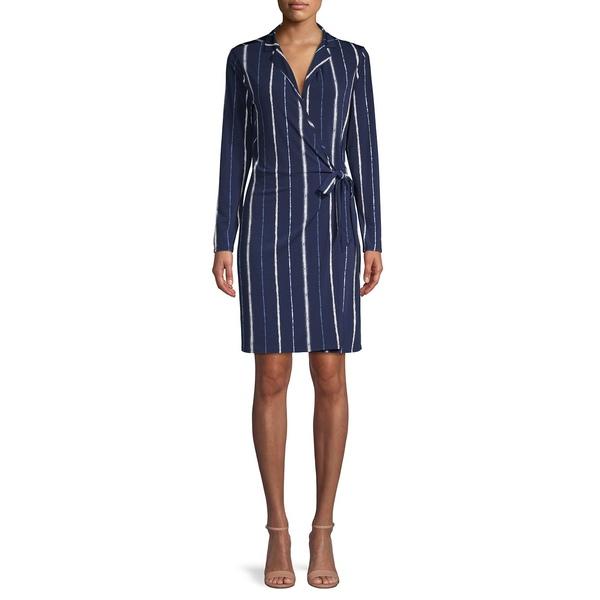 エイチ ホルストン レディース ワンピース トップス Striped Wrap Dress Navy