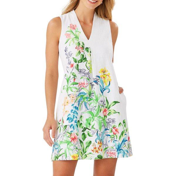 トッミーバハマ レディース ワンピース トップス Botanical-Print Shift Dress White
