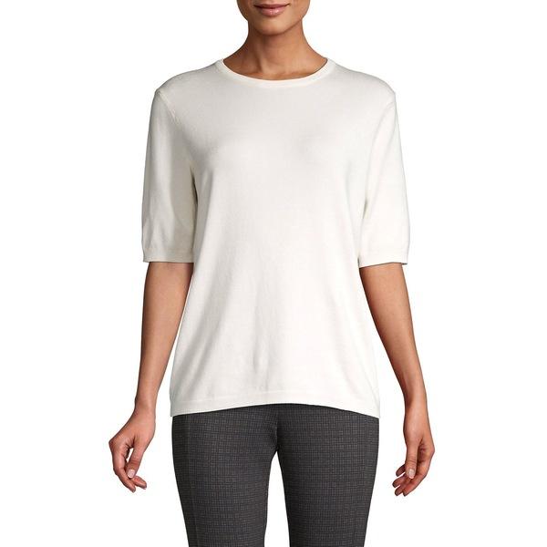 プレミス レディース ニット&セーター アウター Elbow-Sleeve Crewneck Sweater Pearl White