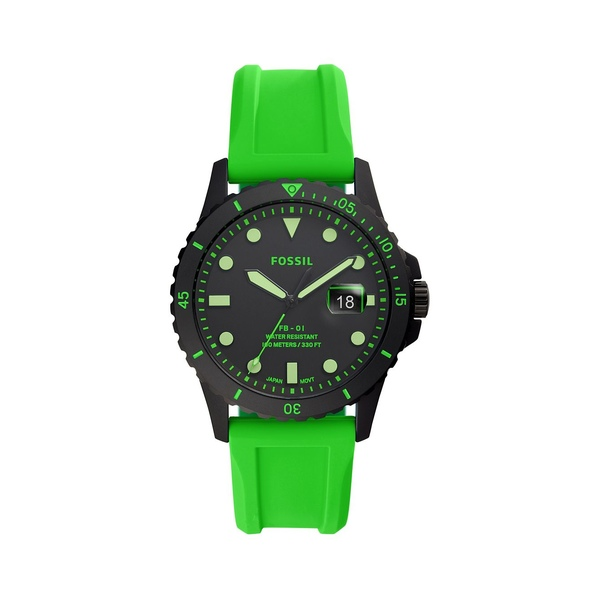 フォッシル レディース 腕時計 アクセサリー FB-01 3-Hand Gunmetal-Tone Stainless Steel & Silicone-Strap Watch Neon Green
