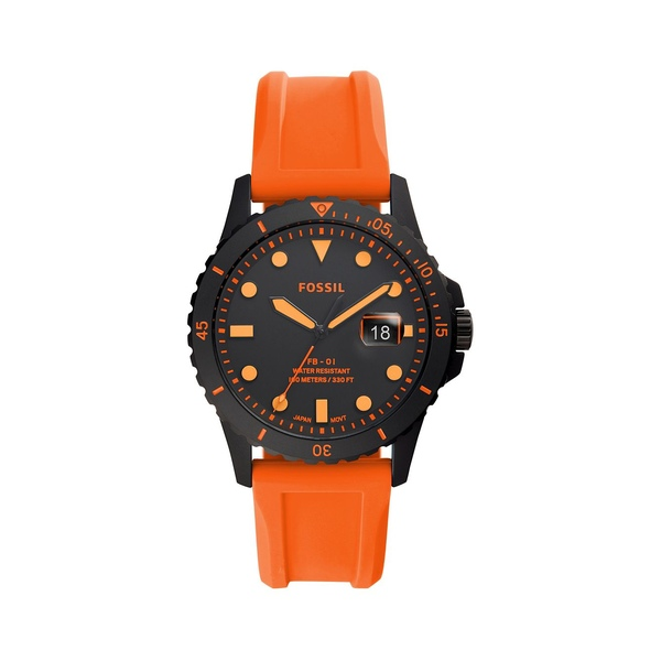 フォッシル レディース 腕時計 アクセサリー FB-01 3-Hand Gunmetal-Tone Stainless Steel & Silicone-Strap Watch Neon Orange