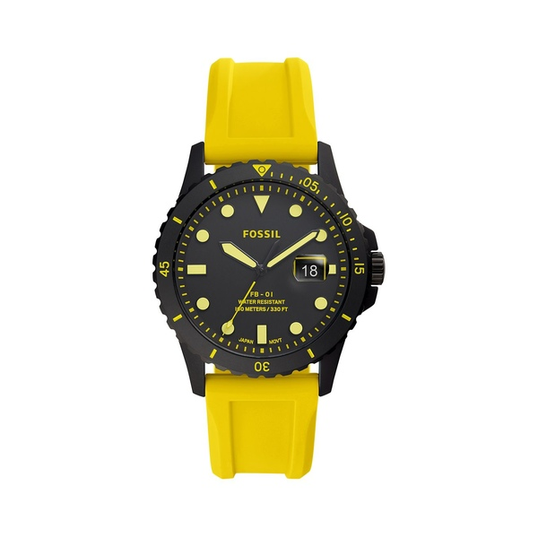 フォッシル レディース 腕時計 アクセサリー FB-01 3-Hand Gunmetal-Tone Stainless Steel & Silicone-Strap Watch Neon Yellow