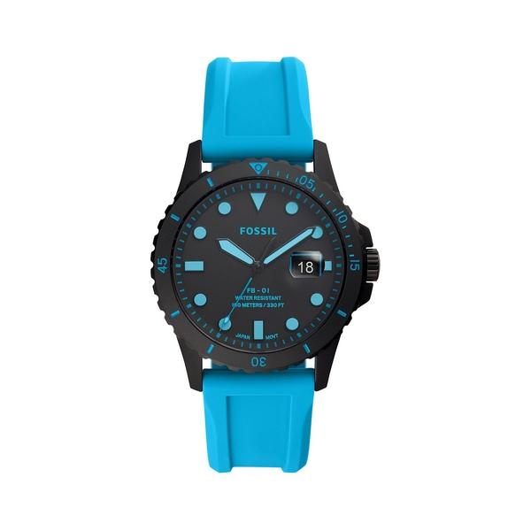 フォッシル レディース 腕時計 アクセサリー FB-01 3-Hand Gunmetal-Tone Stainless Steel & Silicone-Strap Watch Neon Blue