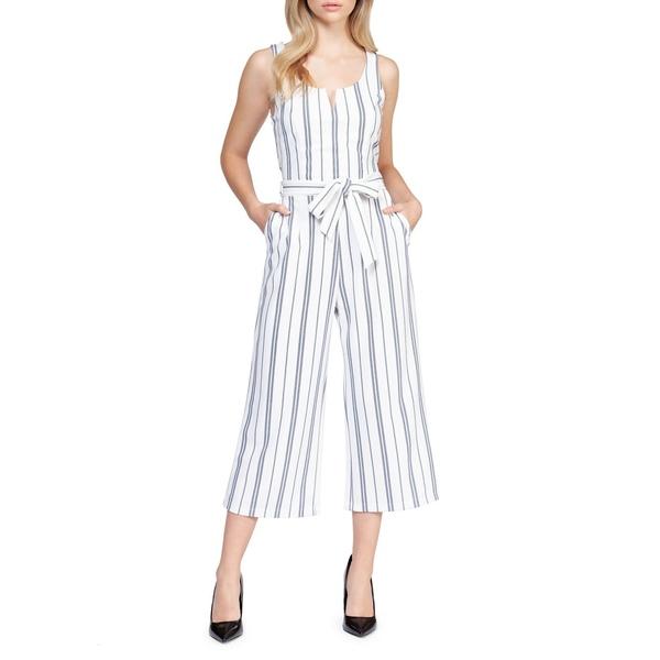 デックス レディース ワンピース トップス Striped Tie-Waist Jumpsuit White