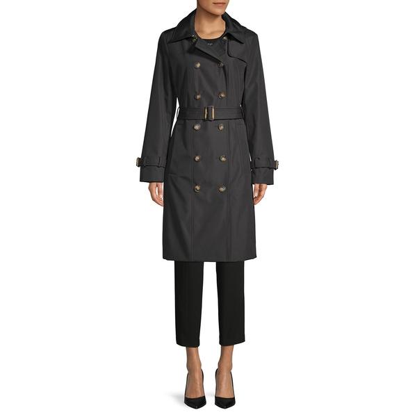 カルバンクライン レディース コート アウター Double-Breasted Hooded Trench Coat Black