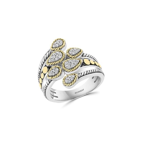 エフィー レディース リング アクセサリー 925 Sterling Silver, 18K Yellow Gold & 0.17 TCW Diamond Ring Silver