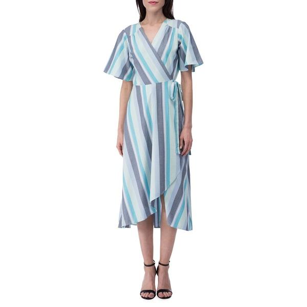 ビーコレクションバイボビュー レディース ワンピース トップス Striped Cotton-Blend Wrap Dress Blue Lilac