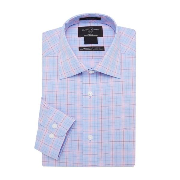ブラック・ブラウン1826 メンズ シャツ トップス Plaid Regular-Fit Dress Shirt Blue Pink