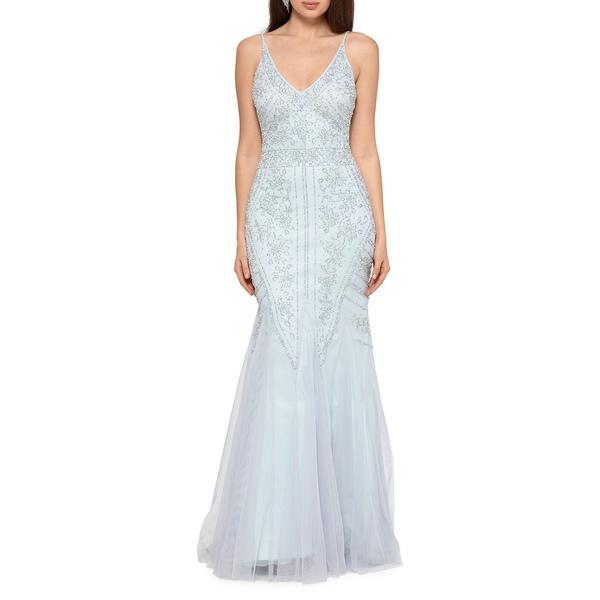 エスケープ レディース ワンピース トップス Embellished Mermaid Gown Grey Sage Silver