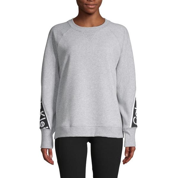 カルバンクライン レディース パーカー・スウェットシャツ アウター Logo Tape Cotton-Blend Sweatshirt Pearl Heather Grey
