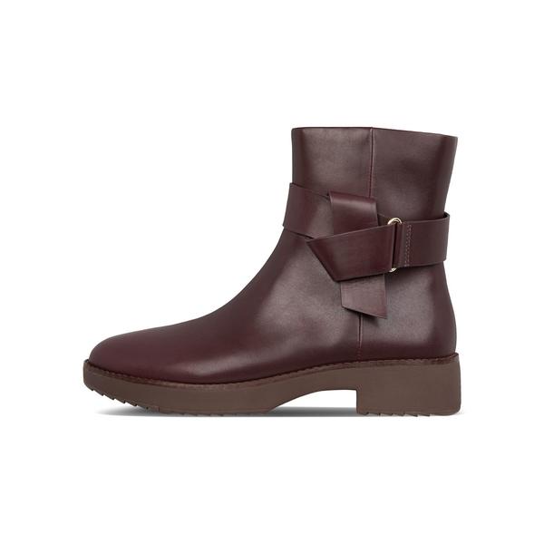 フィットフロップ レディース ブーツ&レインブーツ シューズ Knot Leather Ankle Boots Lingonberry