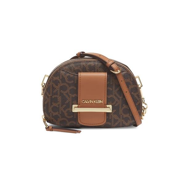 カルバンクライン レディース ショルダーバッグ バッグ Printed Crossbody Bag Brown Khaki