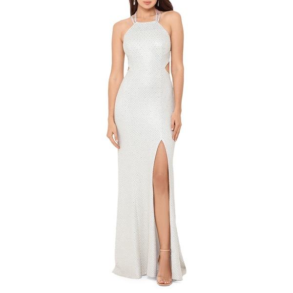 ベッツィ アンド アダム レディース ワンピース トップス Embellished Halter Gown White Silver Gold