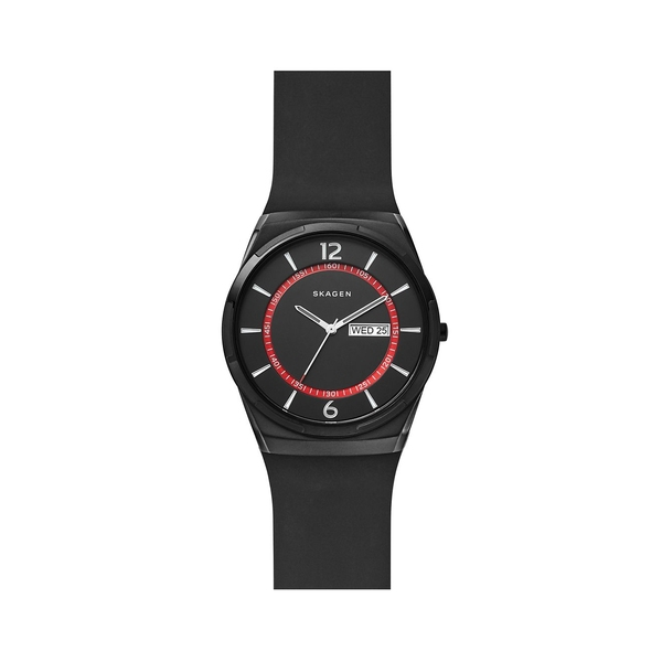 スカーゲン レディース 腕時計 アクセサリー Melbye Stainless Steel & Silicone-Strap Watch Black
