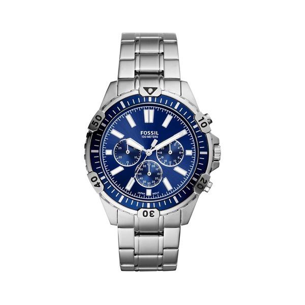 フォッシル レディース 腕時計 アクセサリー Garrett Silvertone Stainless Steel Bracelet Chronograph Watch Silver