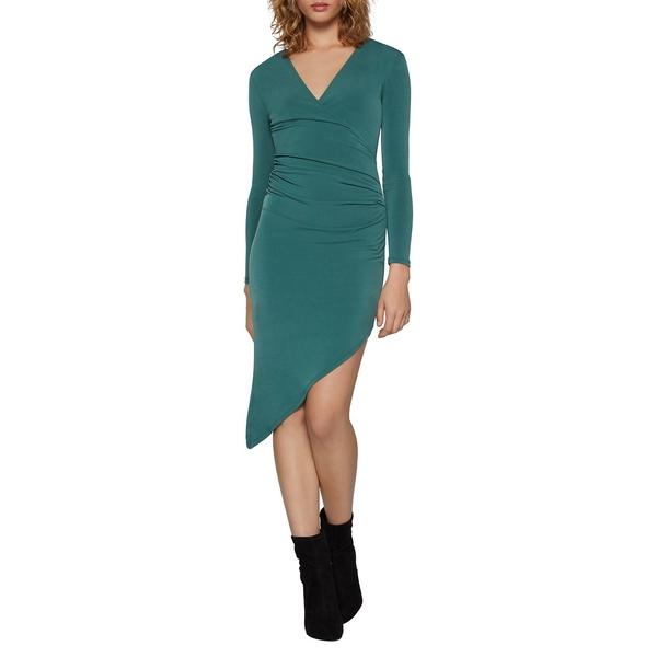 BCBジェネレーション レディース ワンピース トップス Asymmetrical Ruched Bodycon Dress Dark Green