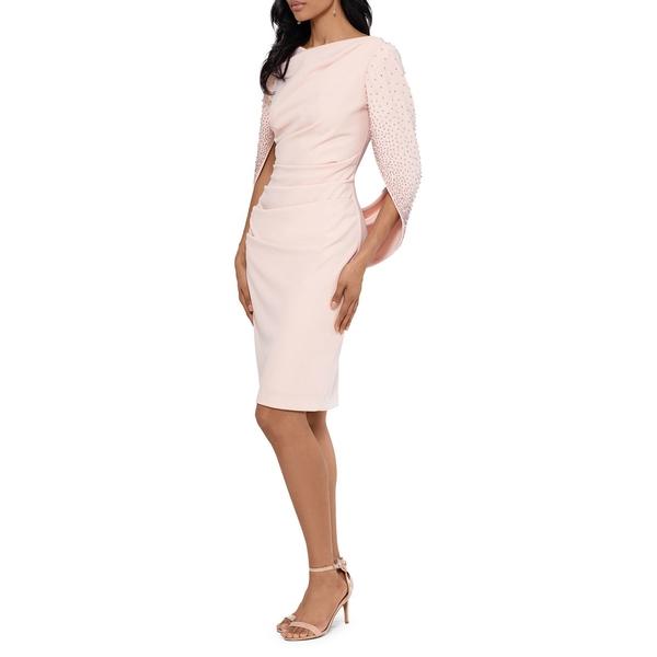 ベッツィ アンド アダム レディース ワンピース トップス Draped Long-Sleeve Dress Blush