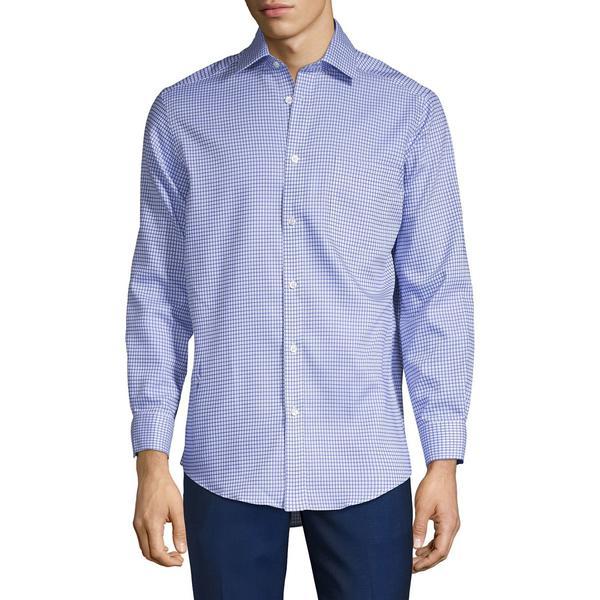 ブラック・ブラウン1826 メンズ シャツ トップス Graph-Check Shirt Blue