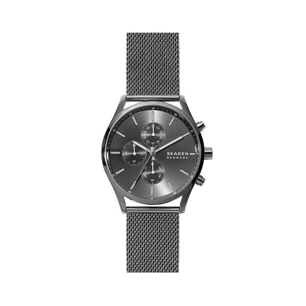 スカーゲン レディース 腕時計 アクセサリー Holst Stainless Steel & Mesh-Strap Chronograph Watch Silver