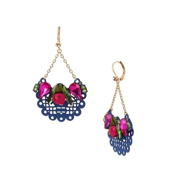 ベッツィジョンソン レディース ピアス&イヤリング アクセサリー Fabric Rose Scalloped Drop Earrings Gold