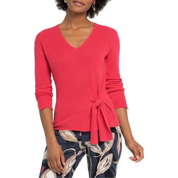 ニックプラスゾーイ レディース ニット&セーター アウター Flaunt Tie Cotton-Blend Sweater Geranium