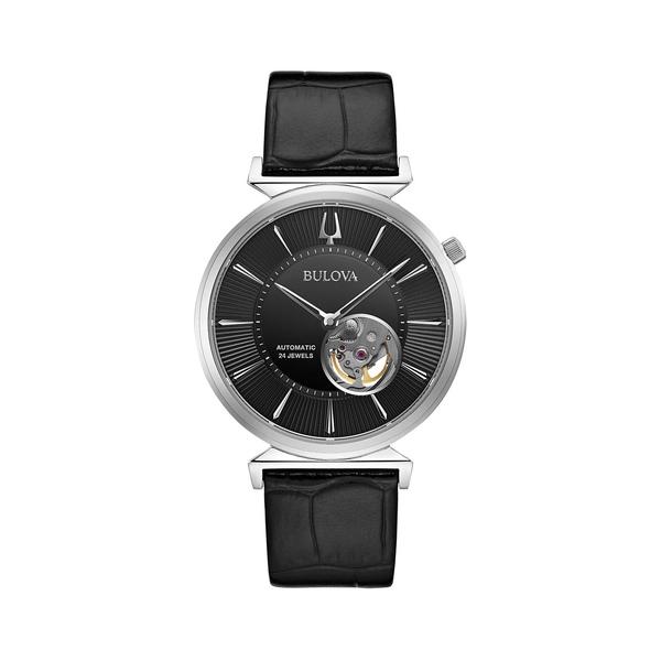 ブロバ メンズ 腕時計 アクセサリー Classic Automatic Stainless Steel & Alligator-Embossed Leather-Strap Watch Black