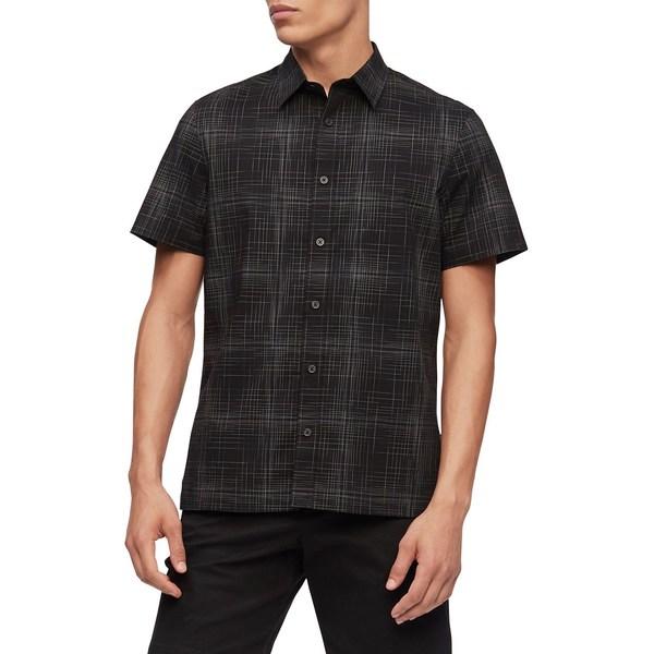 カルバンクライン メンズ シャツ トップス Short-Sleeve Plaid Shirt Black