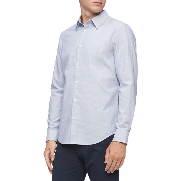カルバンクライン メンズ シャツ トップス Stretch Cotton Button-Down Shirt Estate Blue