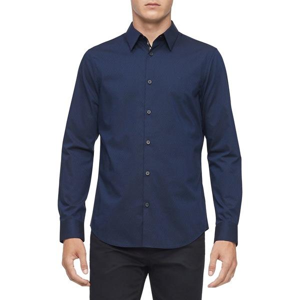 カルバンクライン メンズ シャツ トップス Stretch Cotton Button-Down Shirt Night Sky