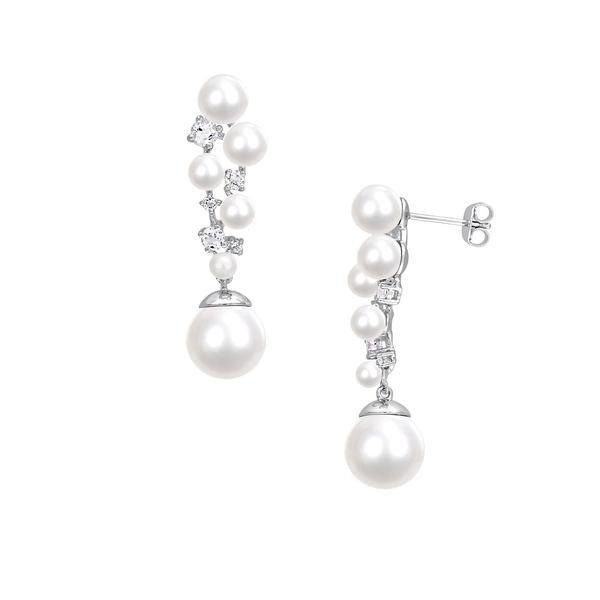 ソナティナ レディース ピアス&イヤリング アクセサリー Sterling Silver, 3-10.5mm Pearl & White Topaz Cluster Drop Earrings White