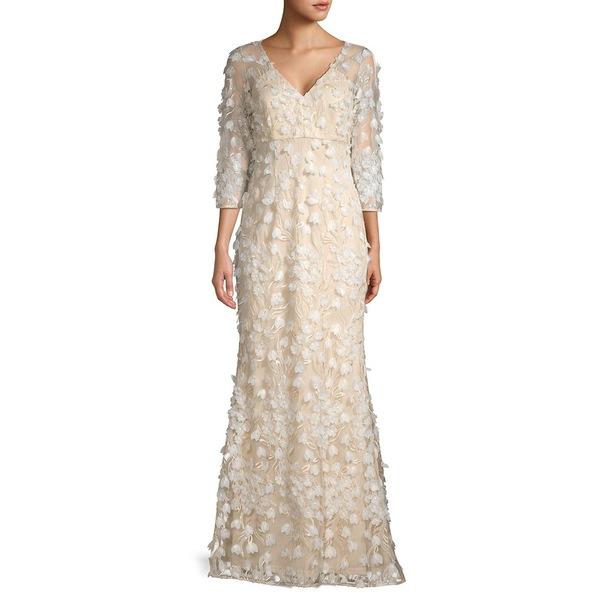 カルメンマークバルボ レディース ワンピース トップス Textured Floral Gown Champagne