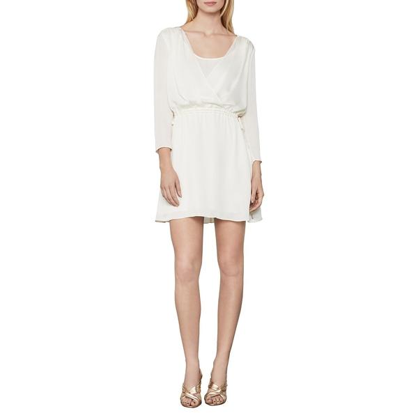 ビーシービージーマックスアズリア レディース ワンピース トップス Faux Wrap Satin Dress White