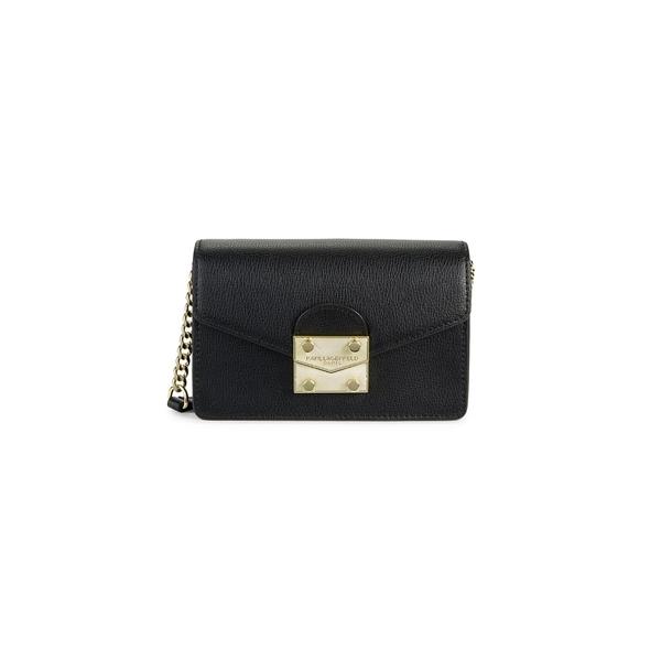カールラガーフェルド レディース ショルダーバッグ バッグ Corinne Faux Leather Crossbody Bag Black Gold