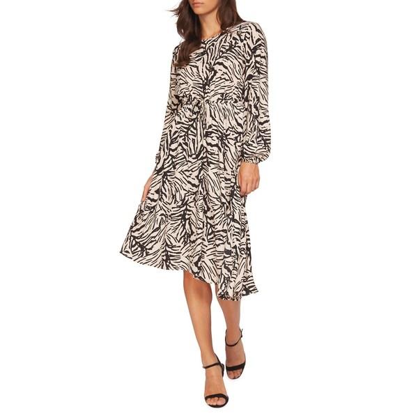 デックス レディース ワンピース トップス Zebra-Print Asymmetrical Dress Taupe