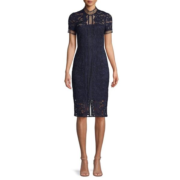 エリザジェイ レディース ワンピース トップス Short-Sleeve Lace Sheath Dress Navy