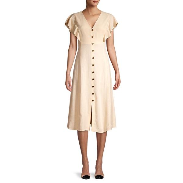 カルバンクライン レディース ワンピース トップス Flutter-Sleeve Linen-Blend Dress Shell