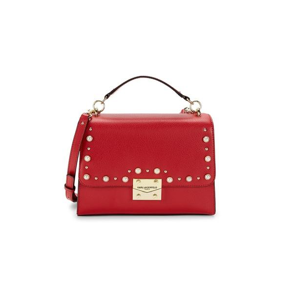 カールラガーフェルド レディース ハンドバッグ バッグ Faux Leather Shoulder Bag Crimson