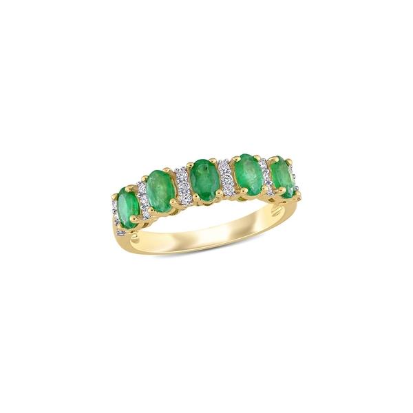 ソナティナ レディース リング アクセサリー 14K Yellow Gold, Emerald & 0.16 TCW Diamond Semi-Eternity Ring Emerald