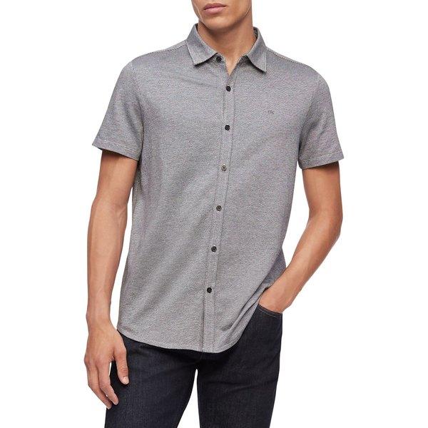カルバンクライン メンズ シャツ トップス Short-Sleeve Button-Down Shirt Black Grey